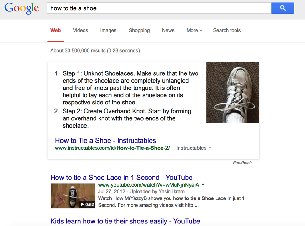 how to tie a shoe lace knowledge graph Google