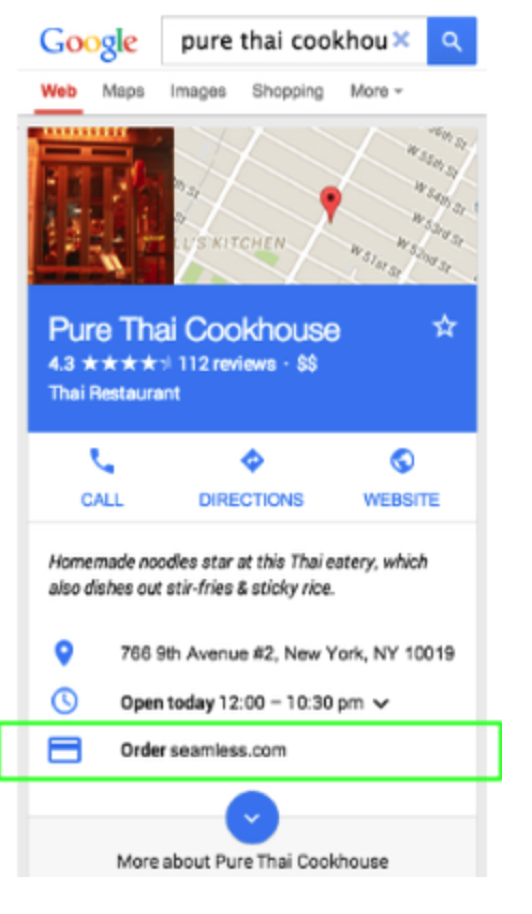 Google Adds Food Delivery Orders
