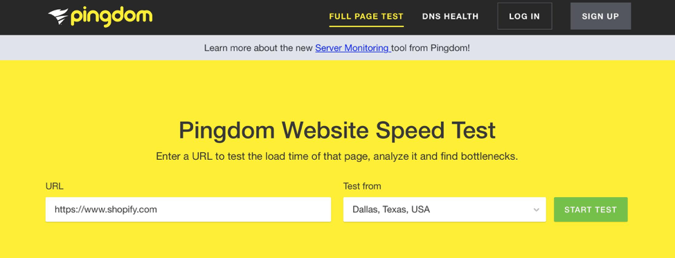 Pingdom Website Speed Tester