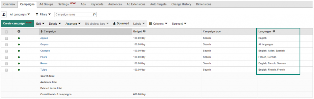 Bing Now Supports Language Targeting at Campaign Level