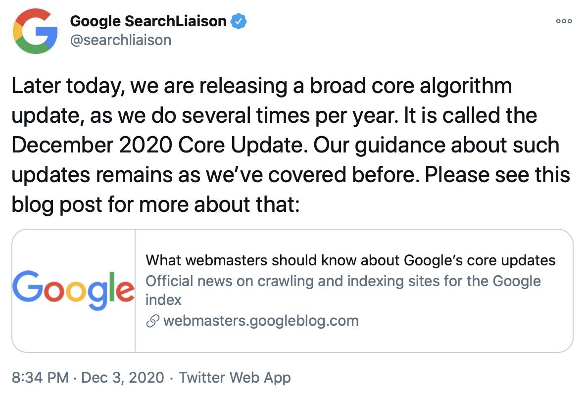 Google confirms December 2020 core update