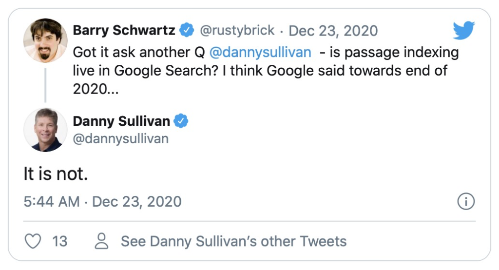 Google Says Passage Indexing Not Yet Live